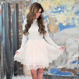 Wholesale Sleeved Chiffon Prom Dresses - White Pink Long Sleeves Prom Dresses 2017 Newest High Neck Illusion Sleeved Little Short Cocktail Dresses Graduation Dresses
