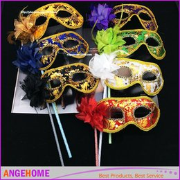 Wholesale Handmade Masquerade Masks - HandMade Party Mask with stick Wedding Venetian Half face flower mask Halloween Masquerade princess Dance party Mask 6 color