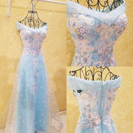 Wholesale Ice Blue Chiffon - Gorgeous Ice Blue Off Shoulder Prom Dresses 2017 Pink Lace Applique Beaded Evening Gowns Lace Up Back Tulle Covered Formal Party Dresses