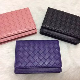 Wholesale Blue Sky Knitting - 2016 New Brand Men's Genuine Leather knitting business Card Holders men bank Credit card holder ID Card Holder Woman hasp Wallet coin purses
