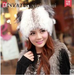 Wholesale Ladies Mink Hats - Wholesale-Most fashional lovely ladies mink fur hat knit cap Orecchiette Sphere ear hats 15% off