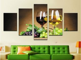 Wholesale Cheap Framed Decorations - home decoration 5 piece Wine cups pictures canvas oil painting on wall art for living room print decor cheap modern F 1775