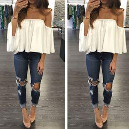Wholesale Women Shirt Silk Style - Top fashion Sexy Off Shoulder T-Shirt 2016 Summer Style Women Slash Neck Short Sleeve Casual Stretch Tops Tee Blusas BR039