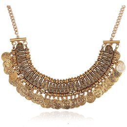 Wholesale Necklace Bohemian Tassel - Fashion Jewelry Silver Coins Pendant Statement Bib Chunky Chain Choker Collar Necklace Tassel coin Necklace Dress Accessory Gold Silver