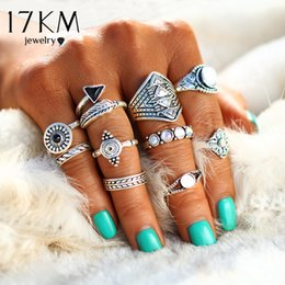 Wholesale Stone Crystal Jewellery - 17KM Fashion Leaf Stone Midi Ring Sets New 2017 Vintage Crystal Opal Knuckle Rings for Women Anillos Mujer Jewellery 10PCS Lot