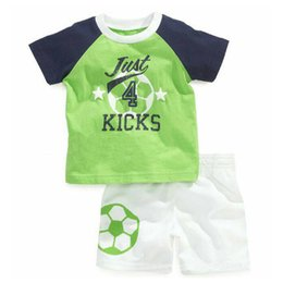 Wholesale Branded T Shirt Soccer - New Arrival Boys Clothing Baby Boys 2PCS Soccer Clothing Sets Green Football Short Sleeve T Shirt+White Pants Children Sports Suit