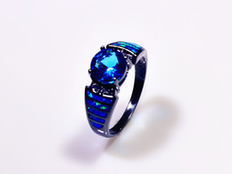 Wholesale Fire Opal Ring Gold - Wholesale & Retail Fashion Fine Blue Fire Opal Rings with Blue Cubic Zirconia 10KT Black Gold Filled RMF16032604