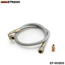"""Wholesale Feed Lines - EPMAN -Braided Stainless Steel24"""" T3 T4 Turbo Braided Oil Inlet Feed Line Fitting For Toyota Nissan EP-WXB05"""