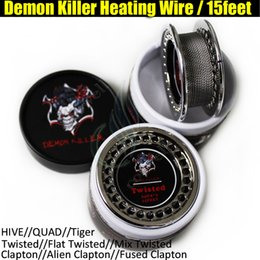 Wholesale Rolled Coils - Demon Killer Wire Flat Twisted Fused Clapton Hive Alien Quad Tiger Wire Coils 15 Feet Roll Coils Organic Cotton fit Atomizer DHL Free