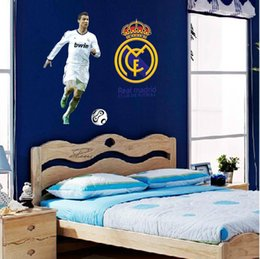 Wholesale Sticker Boy Girls - Football Star Cristiano Ronaldo Vinyl Wall Stickers For Kids Rooms Boys Girls Removable PVC Home Decor Wall Classical Decals