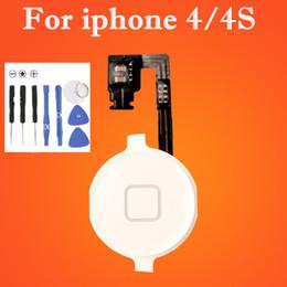 Wholesale Button Black Home 4s - Home Menu Button Key Cap Flex Cable Bracket Holder Set Assembly for iPhone 4 4G 4S CDMA Black White Replacement Part