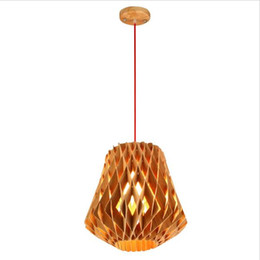 Wholesale Touch Wood - Modern Wood Pendant Light Japan Style Pendant Lamp Loft Pendant Lights Wooden Pendant Lamps Dining Room Home Lighting Decor