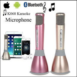 Wholesale Free Karaoke Player - K068 Mini Karaoke Microphone+Speaker Bluetooth 3.0 Home KTV karaoke Player KTV Singing Record For Smart Phones Computer via DHL free