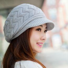 Wholesale Knit Visor Hat Women - 2017 Winter Women Rabbit Fur Knitted Beanies Hats Female Snow Ski Beret Caps With Visor 10pcs lot