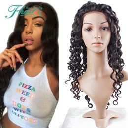 Wholesale Gluless Lace Wigs - 8A For Black Women Virgin Full Lace Gluless Human Hair Wigs Deep Wave Lace Front Human Hair Wigs 130 Density Bleached Knots