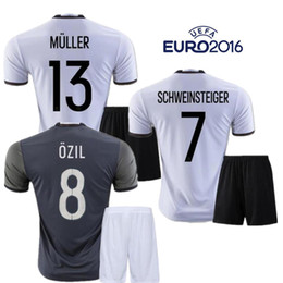 Wholesale Soccer Jersey Germany - 2016 Deutschlan Muller Jerseys Home Away Germany Soccer Jerseys Sets SCHWEINSTEIGER OZIL Gotze Reus Kroos Neuer HUMMELS Euro FootballKits