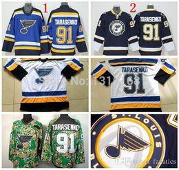 Wholesale Factory St - 2016 St. Louis Blues Vladimir Tarasenko Ice Hockey Jerseys #91 Blue White Camo Vladimir Tarasenko Jersey Factory Directly Wholesales