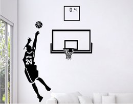 stick peel wall Promo Codes - Free Shipping: Small Middle Large Black 3D DIY Photo No.24 Basketball Player PVC Decals Adhesive Family Wall Stickers Mural Art Home Decor