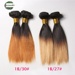 Wholesale Silky Blonde Straight Weave - 2016 NEW Silky Straight Hair Weave Ombre 1B 30 27 2 Tone Cheap Straight Human Hair Bundles Eco Hair Products 3pc