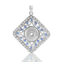 Wholesale Button Bouquets - White K square box flower bouquet snap button chunks pendants DIY nossa jewelry fit women girl noosa necklaces bracelets finding 270090