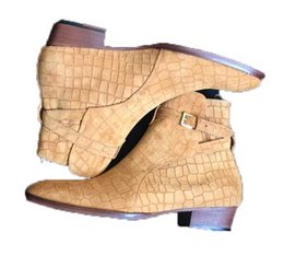 2017 New Man Crocodile Pattern en Tan Classique Paris Fashion Slp Wyatt Bottes Marron Véritable En Daim En Cuir Haut Top Hommes Chaussures Bottines ? partir de fabricateur