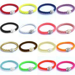 Wholesale Bracelets Shambhala - 20 colors Shambhala pu leather Crystal Magnetic Clasp charm Bracelets bands wrist band valentine's day gift 160824