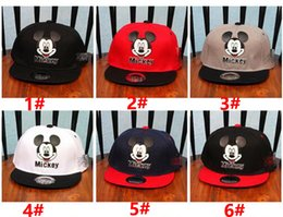 Wholesale Childrens Summer Hats - 6 color baby kids cap MICKEY Minnie Mickey Mouse Kids Cartoon Snapback Caps Donald Duck child baseball cap childrens hats