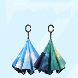 Wholesale umbrella men - Double Deck Windproof Umbrellas Folding Inverted Umbrella Men And Women Outdoor Portable Rain Gear Ultraviolet Proof 35 kk C R