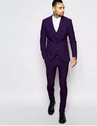 Wholesale White Vest Blazer For Men - New Arrival Custom Made Purple Mens Suits Groom Tuxedos Groomsmen Wedding Blazer Suits For Men (Jacket+Pants+Vest)