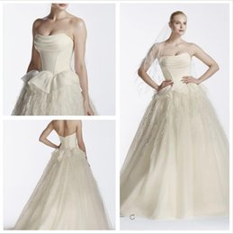 Wholesale Soft Organza Wedding Gowns - 2016 Organza Ball Gown Wedding Dresses Strapless bodice draped organza neckline organza skirt with soft feathers ZP341550 gowns