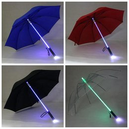 Wholesale Umbrella Led Light - LED Light Rain Umbrella LED Light Flash Umbrella Light Saber Umbrella Safety Fun Blade Runner Night Protection 4 Colors OOA2581
