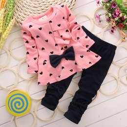 Wholesale Long Neck Girls - Fashion Sweet Princess Kids Baby Girls Clothing Sets Casual Bow T-shirt Pants Suits Love Heart Printed Children Clothes Set