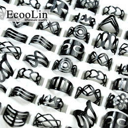 Wholesale Vintage Silver Man Ring - EcooLin Jewelry Vintage Black Zinc Alloy Gypsy Adjustable Finger Tattoo Rings Toe Ring Lots For Women Men Bulk Jewelry Lots Mix Style BK4010