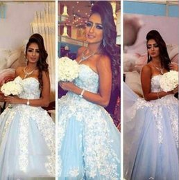 Wholesale Cheap Bridal White Lights - 2017 Ball Gown Wedding Dresses with Sweetheart Neck Sleeveless Lace Appliques Sweep Train Light Blue Tulle Cheap Bridal Gowns