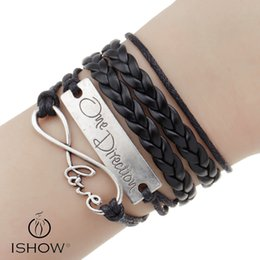 Wholesale One Direction Black - Black fashion DIY Multilayer PU Leather ONE DIRECTION letter Double hearts charm bracelets jewelry gift for men or women