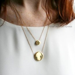 Wholesale Minimum Orders Necklace Wholesale - Double Rugged Coin Pendant 2 Layer Chain Short Choker Necklace Geometric Concise Style OEM ODM Wholesale Minimum Order USD50 DHL Free