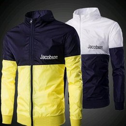 Wholesale Neon Outerwear - Wholesale- New 2016 Neon Color Patchwork Color Block Slim Stand Collar Rain Silk Shiny Jacket Windproof Casual Outerwear Male