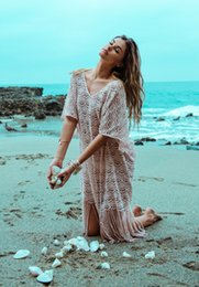 Wholesale Lycra Long Stockings - In Stock Bohemian Lace Bikini Cover ups with Long Tassel Summer V Neck Half Sleeve Loose Beach Dress New Design Best Prince