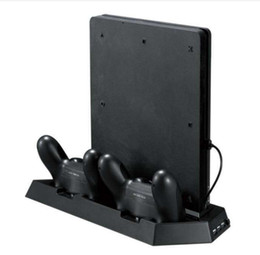 Wholesale Usb Charge Controller - Vertical Stand for PS4 Slim   PS4 with Cooling Fan Dual Controller Charging Station 3 Extra USB Port - Black