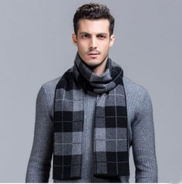 Wholesale Winter Mufflers Men - LUXURY Scarf 100% Wool Muffler Newest Cashmere Plaid Scarf Man Winter Brand Scarf Men Fashion Designer Shawl Bussiness Casual Scarves thick