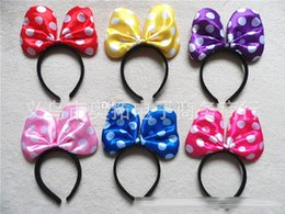 Wholesale Wholesale Plastic Bow Supplies - 20cm big bow Children Mickey and Minnie mouse headband girl satin bow Polka Dot Hair Sticks kids birthday party supplies decorations A039