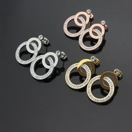 Wholesale crosses jewellery - 2017 Fashion circle earring jewellery wholesaler * single drill cross double round mud drill earnail 18K Rose Gold Earrings