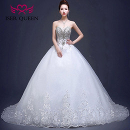 Wholesale White Sequin Ribbon - ISER QUEEN Luxury Crystal Beads Long Tain Quality Plus Size Wedding Dress Ball Gown Sweetheart Lace Appliques Bridal Gowns China WX0015