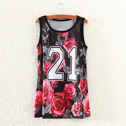 Wholesale Design Girls Army - Wholesale-Red rose letters print tank tops women casual sportwear 2016 fashion design summer dresses girls sleeveless tanks
