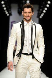 Wholesale Bespoke Suits Men - Custom Made Ivory White Groom Tuxedo With Black Edge Bespoke Tailored Groom Suits For Men men wedding tuxedos groomsman blazer slim fit suit