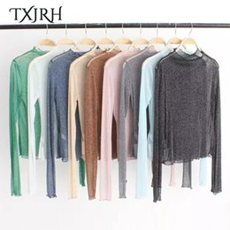 Wholesale Bright Tee Shirts - Wholesale- TXJRH Sexy Bright Mesh Perspective Ruffles Stand Collar Pullover T-Shirt Slim Fashion Women Long Sleeve Tee Tops 14 Colors