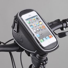 Wholesale Handlebar Bags - Hot New Wholesale Roswheel Cycling Bike Bicycle Front Frame Handlebar Bag Pouch for 5in Cellphone Panniers & Bags