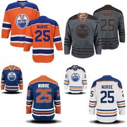 Wholesale Nurse Blue - Hot Sale Mens Edmonton Oilers 25 Darnell Nurse Best Quality Cheap Full Embroidery Logos Ice Hockey Jerseys Accept Mix Order Size S-3XL
