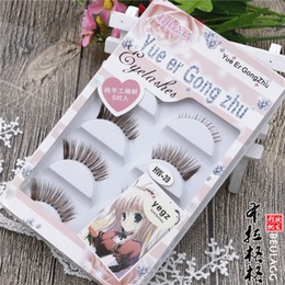 Braune wimpern online-Wholesale-Free shipping--fake false eyelashes brown coffee color eye lash hand made 3pairs superior&2pairs inferior mixed packaging box