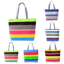 Wholesale Bags Handbags Fashion Colorful Style - Korean Style Colorful Stripes Shoulder Bags Girls Totes Autumn Winter Ladies Designer Fashion Handbags Canvas Container Women Handbags B0318